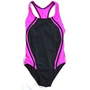 Speedo Big Girls Sport Splice Swimsuit Black Pink